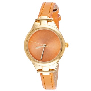 Via Nova Slim Women's Small Goldtone Light Brown Leather Strap Watch
