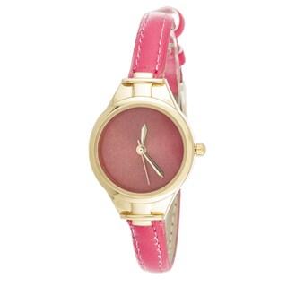 Via Nova Slim Women's Small Goldtone Pink Leather Strap Watch