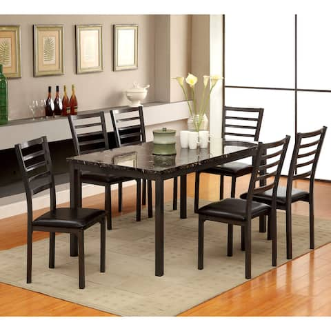 Furniture of America Rath Contemporary Black 7-piece Dining Set