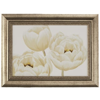 White Poppies' Framed Giclee Print Wall Art with Glass