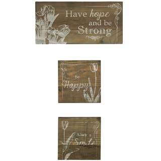 'Hope' Silk Screen on Wood Wall Art (Set of 3)