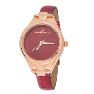 Via Nova Slim Women's Small Goldtone Red Leather Strap Watch