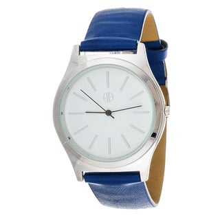 Fortune NYC Boyfriend Women's Silvertone Square Case Blue Leather Strap Watch