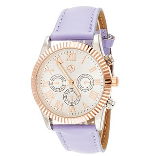 Fortune NYC Boyfriend Women's Rose Ribbed Ring Light Purple Leather Strap Watch