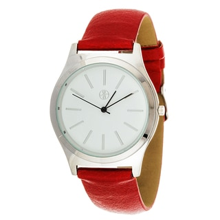 Fortune NYC Boyfriend Women's Silvertone Square Case Red Leather Strap Watch