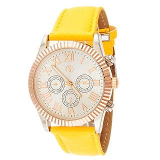 Fortune NYC Boyfriend Women's Rose Ribbed Ring Yellow Leather Strap Watch