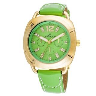 Via Nova Elegant Women's Goldtone Case Green Leather Strap Watch