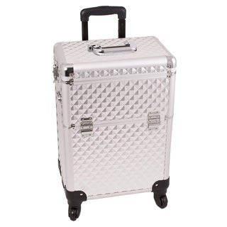 Sunrise Silver Interchangeable Diamond Pattern Rolling Makeup Case