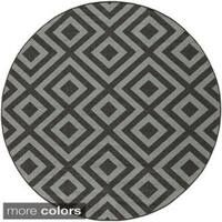 Adan Geometric Indoor/Outdoor Round Area Rug (5'3 Round) - 5'3
