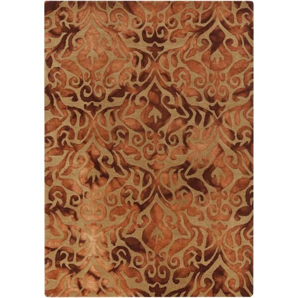 Hand-Tufted Newlyn Damask Pattern Wool Area Rug - 5' x 7'6