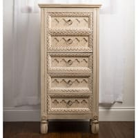 Hives & Honey Abby Antique Ivory-tone Carved Jewelry Armoire