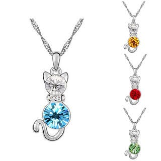 Princess Ice Platinum-plated Cat Pendant|https://ak1.ostkcdn.com/images/products/9936681/P17092036.jpg?impolicy=medium