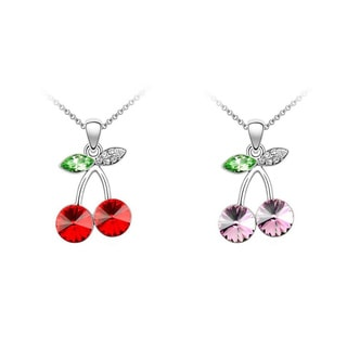 Princess Ice Platinum-plated Crystal Cherry Pendant