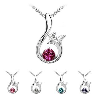 Princess Ice Platinum-plated Blooming Flower Crystal Pendant