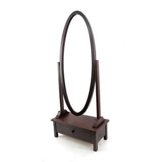 Oval Wood Floor Mirror