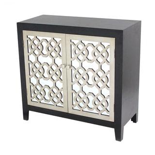 Black Wood and Mirror Filigree Cabinet