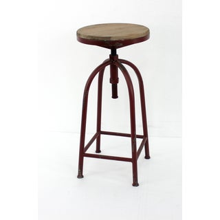 Red Adjustable Metal Stool