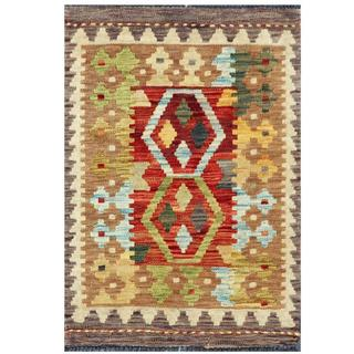 Herat Oriental Afghan Hand-woven Tribal Wool Kilim (1'11 x 2'9)