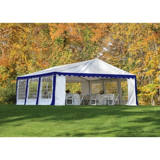 ShelterLogic 20' x 20' Blue/ White 8-leg Galvanized Steel Frame Party Tent Canopy and Enclosure Kit with Windows