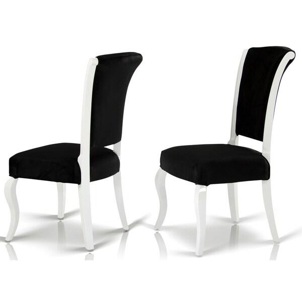Modrest versus mia black fabric dining chair with white for Black and white fabric dining chairs