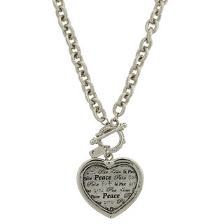 1928 Jewelry Silvertone Peace Heart Pendant Toggle Necklace