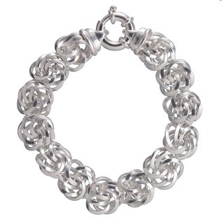 Sterling Silver Diamond-cut 16.6mm Rosetta Bracelet