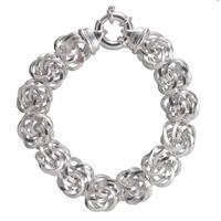 Sterling Silver Diamond-cut 16.6mm Rosetta Bracelet