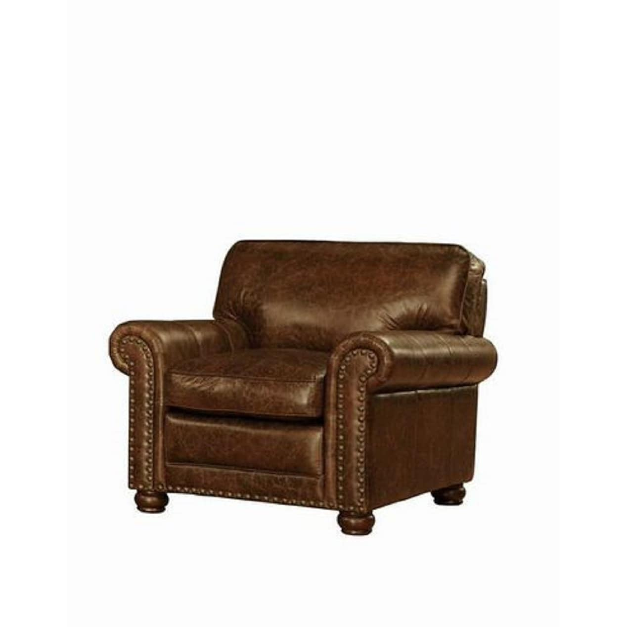 Genesis Leather Chair By Lazzaro Leather, Brown (Fabric)