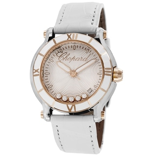 Chopard Women's 278551-6002 'Happy SportRound' Silver Diamond Dial White Leather Strap Watch