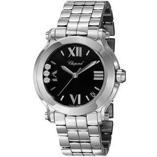 Chopard Women's 278477-3014 'Happy SportRound' Black Diamond Dial Stainless Steel Quartz Watch