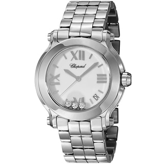 Chopard Women's 278477-3013 'Happy SportRound' White Diamond Dial Stainless Steel Quartz Watch