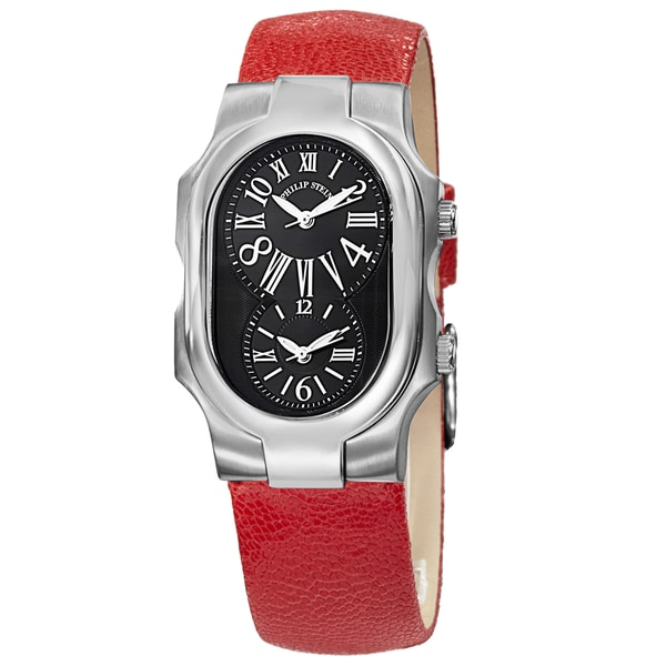 Women's  'Signature' Black Dial Red Leather Strap Dual Time Watch - Philip Stein 1-MB-CPR