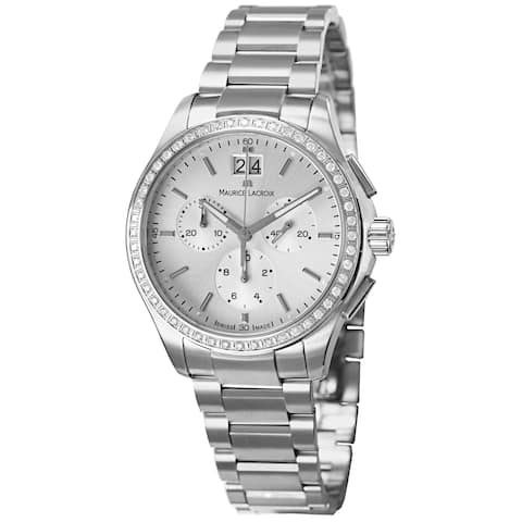 Maurice Lacroix Women's 'Miros' Silver Dial Diamond Stainless Steel Watch