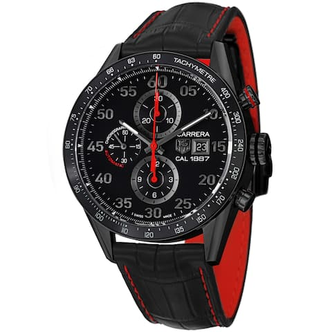 Tag Heuer Men's 'Carrera' Black Dial Black Leather Strap Watch