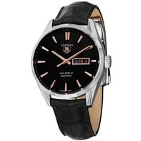 Tag Heuer Men's  'Carrera' Black Dial Black Leather Strap Day Date Automatic Watch