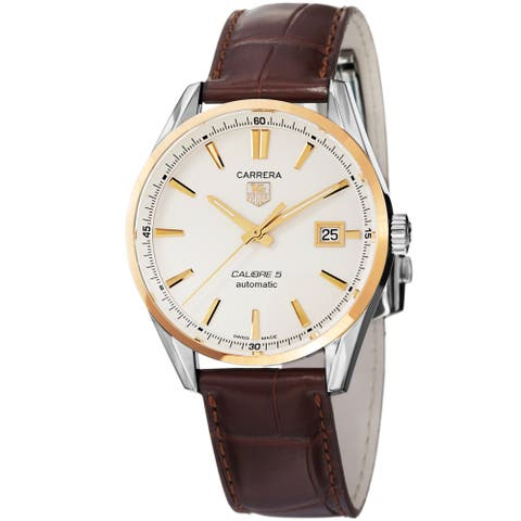 Tag Heuer Men's 'Carrera' Silver Dial Brown Leather Strap Automatic Watch