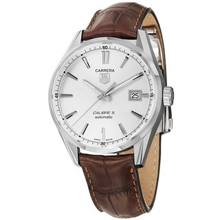 Tag Heuer Men's WAR211B.FC6181 'Carrera' Silver Dial Brown Leather Strap Automatic Watch
