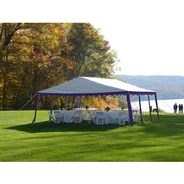 ShelterLogic 20' x 20' Blue/ White 8-leg Galvanized Steel Frame Party Tent Canopy