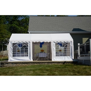 ShelterLogic 10' x 20' White 8-leg Galvanized Steel Frame Party Tent Canopy and Enclosure Kit with Windows / / Model 25890