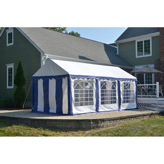 ShelterLogic 10' x 20' L Blue/ White 8-leg Galvanized Steel Frame Party Tent Canopy and Enclosure Kit with Windows