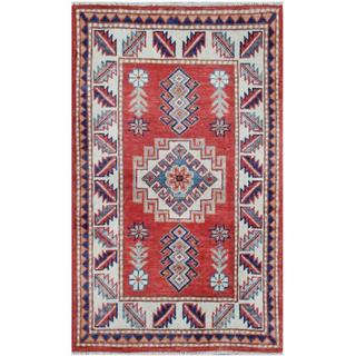 Herat Oriental Afghan Hand-knotted Tribal Super Kazak Wool Rug (2' x 3'3)