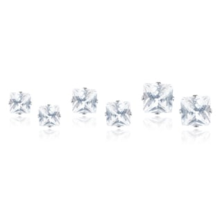 Journee Collection Stainless Steel CZ Set of 3 Square Stud Earrings