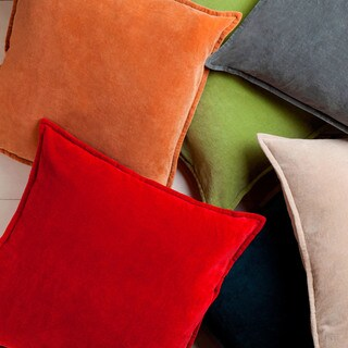 Harrell Solid Velvet 22-inch Feather Down or Poly Filled Pillow