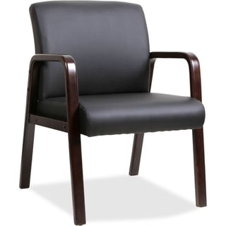 Lorell Wood with Black Leather Upholstry Guest Chair
