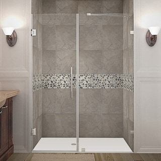 Aston Nautis 59-in x 72-in Completely Frameless Hinged Alcove Shower Door in Chrome