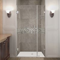 Aston Nautis GS 41-in x 72-in Completely Frameless Hinged Alcove Shower Door in Chrome w. Glass Shelves
