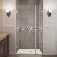 Aston Nautis GS 42-in x 72-in Completely Frameless Hinged Alcove Shower Door in Chrome w. Glass Shelves