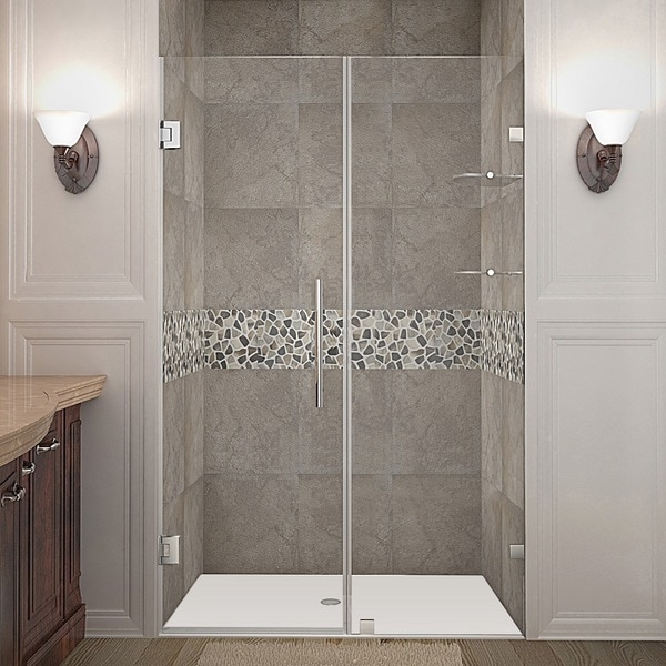 Aston Nautis GS 45-in x 72-in Completely Frameless Hinged Alcove Shower Door in Chrome w. Glass Shelves