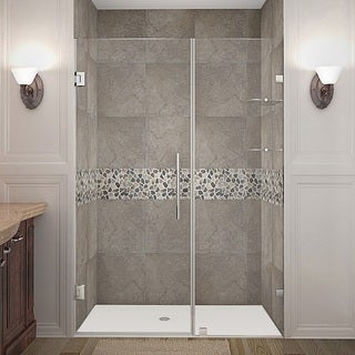 Aston Nautis GS 46-in x 72-in Completely Frameless Hinged Alcove Shower Door in Chrome w. Glass Shelves
