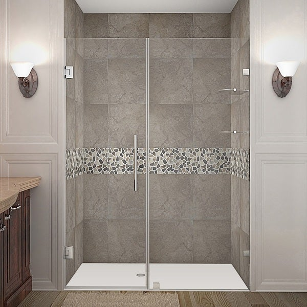 Aston Nautis GS 54-in x 72-in Completely Frameless Hinged Alcove Shower Door in Chrome w. Glass Shelves